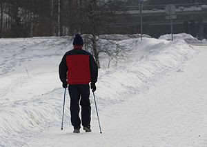 English: Nordic walking in winter in Kerava, F...