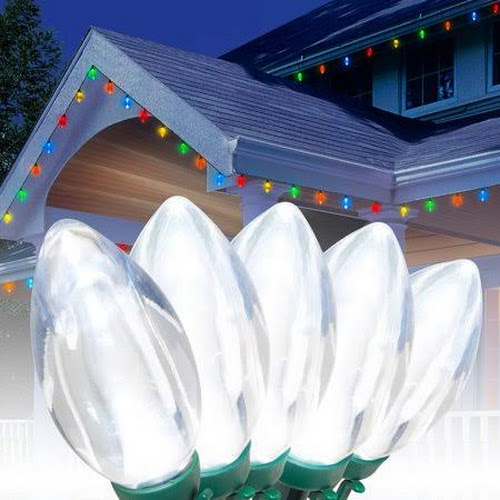 Holiday Time Ultra Bright LED C9 Christmas Lights Cool White, 25 ...