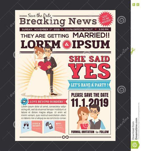 Cartoon Newspaper Wedding Invitation Card Design Stock