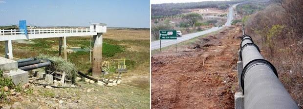 Subsistema da Adutora Alto Oeste que capta água em Pau dos Ferros está pronto, mas não começou a operar porque o reservatório está seco (Foto: Anderson Barbosa/G1 e Governo do Estado/Divulgação)