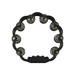 Instrument - Tambourine - Scalloped w/Double Cymbals - Black