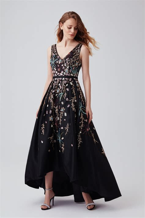 black beaded high  formal dress vcf