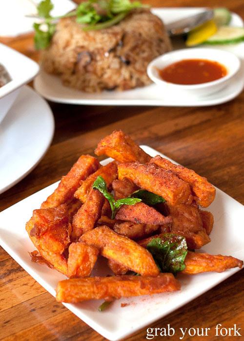 fried sweet potato chips at taipei chef, artarmon