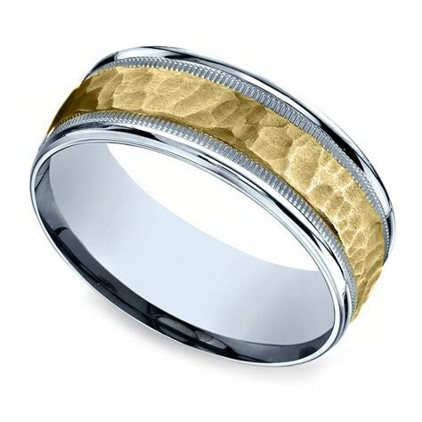 Hammered Men's Wedding Ring in White & Yellow Gold