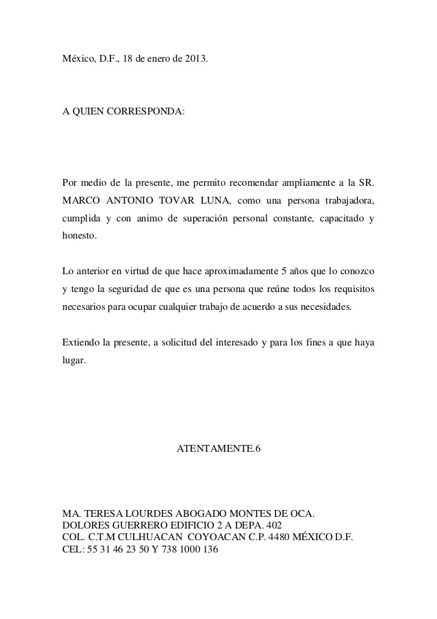 Carta De Recomendacion Laboral Word Descargar Quotes About H