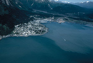 English: Aerial view of Seward, Alaska, USA.