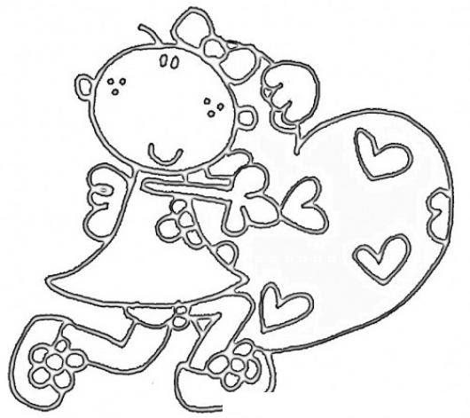 Dibujo De Una Nina Corriendo Con Un Gran Corazon Para Colorear