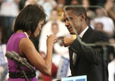 Barack and Michelle Obama, before nomination victory speech