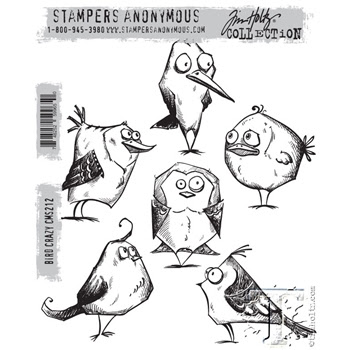 Tim Holtz Cling Rubber Stamps BIRD CRAZY cms212