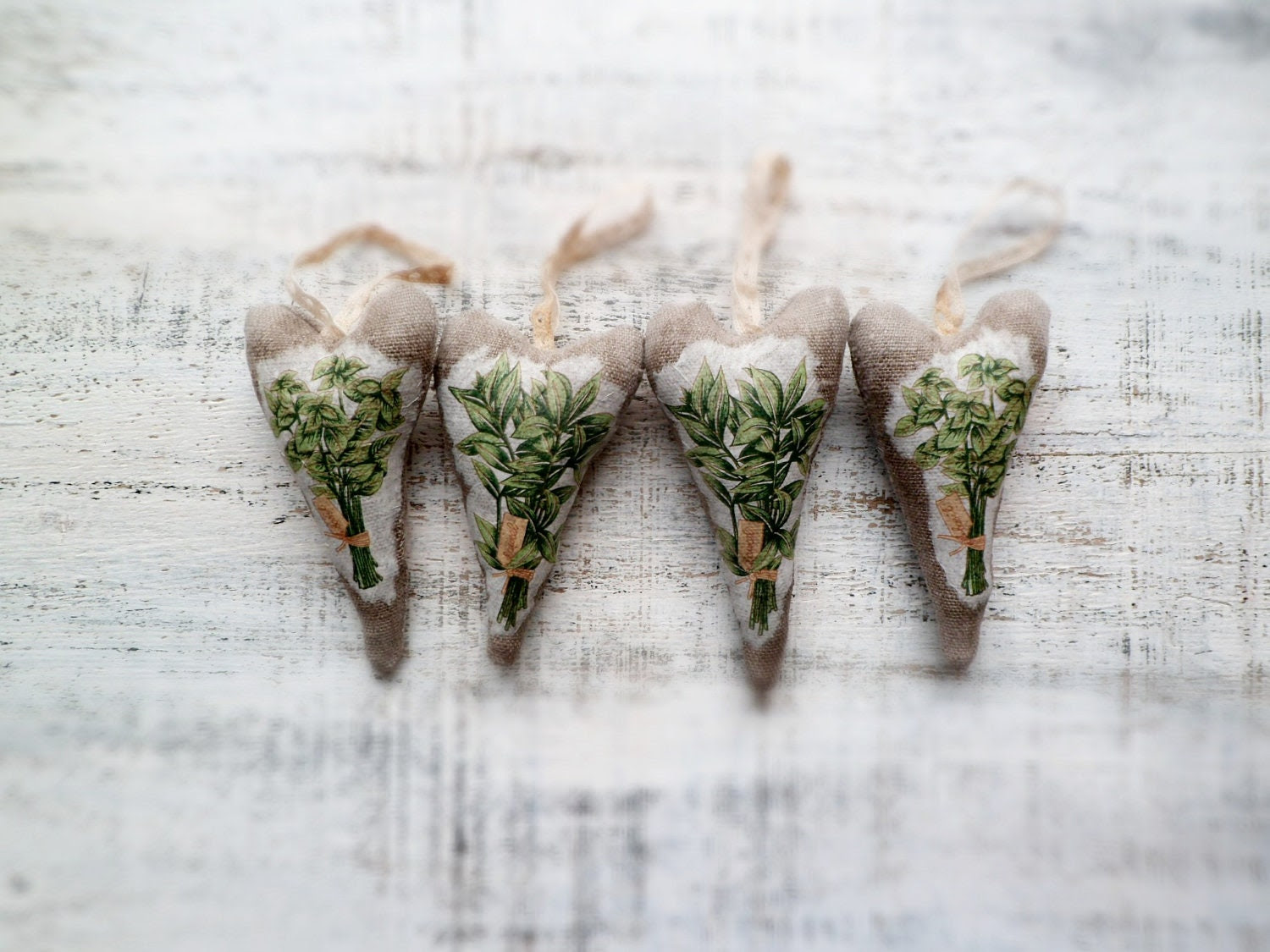 Set of 4 heart Christmas ornaments rustic herbal sachet rosemary spearmint basil grey green brown Christmas decor