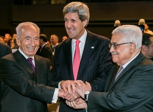 President Shimon Peres, US Secretary of State John Kerry and PA President Mahmoud Abbas.