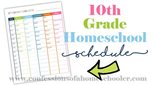 10th Grade Daily Homeschool Schedule - Confessions of a Homeschooler