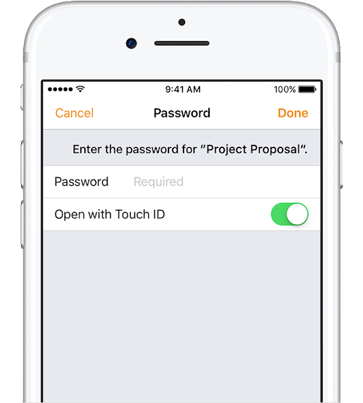 Use Touch ID to open your iWork documents