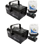 Chauvet DJ Halloween Fog Smoke Machines with Fog Fluid and Wired Remote (2 Pack) by VM Express