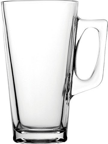 Tall Glass Coffee Mugs & Latte Spoons, 13.25oz 14.5cm - Set of 2. - vdgsb ervbhyjm
