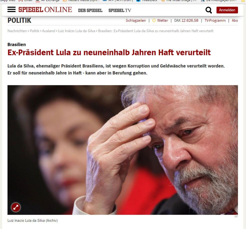 Revista alemã 'Der Spiegel' repercute a condenação do ex-presidente Lula no Brasil (Foto: Reprodução/ Der Spiegel)