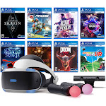 PlayStation VR 11-In-1 Deluxe 8 Games Bundle: VR Headset, Camera, Move Motion Controllers, Skyrim, VR Worlds, DOOM VFR, Battlezone, RIGS, Until Dawn,
