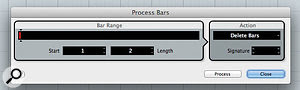 The Process Bars dialogue box can be used to clean up any unwanted tempo data prior to the start of your audio.