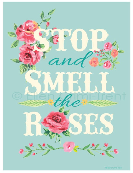 Stop and smell the roses vintage nursery Wall by EllenCrimiTrent