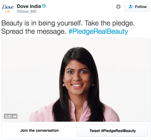 dove india twitter conversational ad