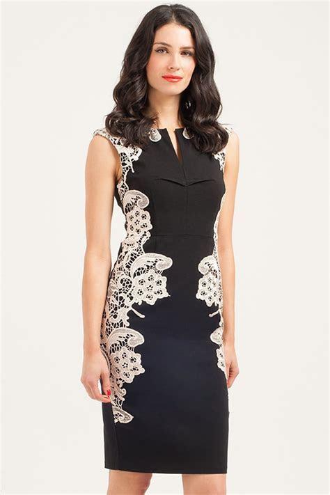 Paper Dolls Black & Cream Mirrored Lace Dress   Paper