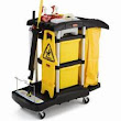 Rubbermaid 9T74 Microfiber Janitor Cart with Color-Coded Pails