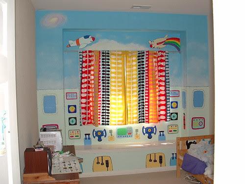Cockpit theme kids bedroom window