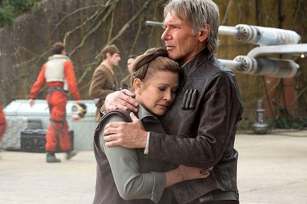 At the Resistance base, Han Solo (Harrison Ford) and General Leia (Carrie Fisher) share a moment in STAR WARS: THE FORCE AWAKENS.