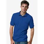 Hanes Men's Cotton-Blend EcoSmart Jersey Polo with Pocket Deep Royal