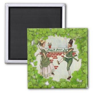Vintage Dancing Irish Couple Magnets