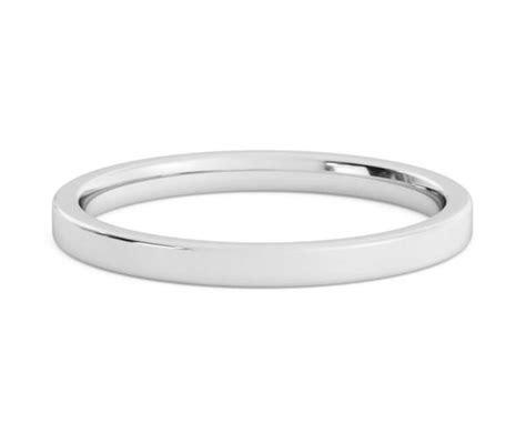 2mm Platinum Wedding Band, Flat Comfort Fit