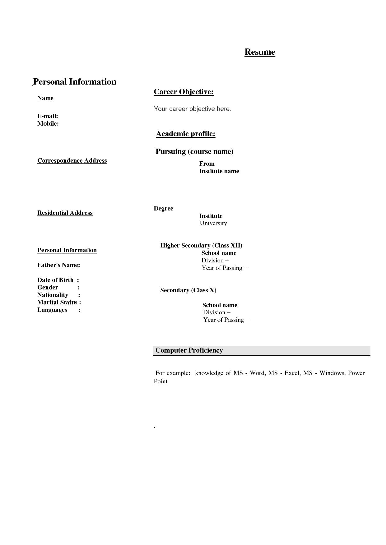 25 unique bio data resume