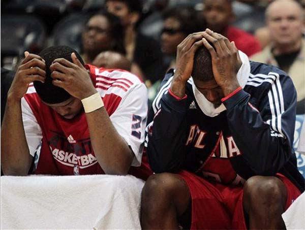 sad Hawks bench