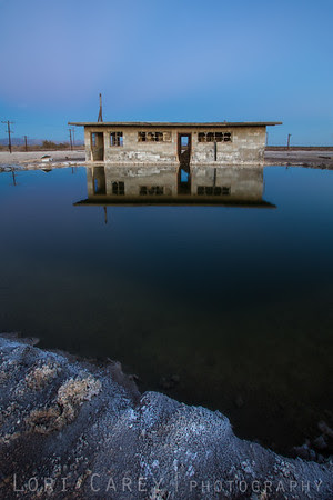 Flooded abandoned structure near the Salton Sea, California