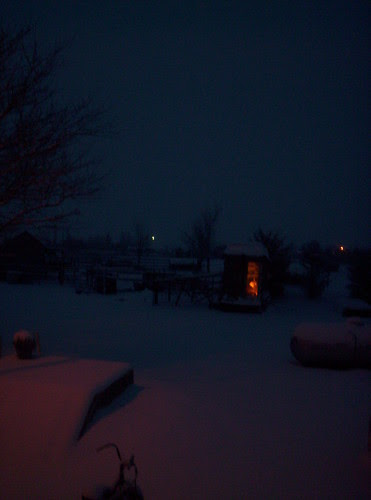 Dawn in our first snow of the year