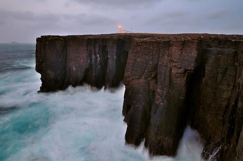 Atlantic waves crash against the cliffs at Esha Ness, Shetland by iancowe