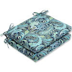 """Set of 2 Sogno Paisley Blue, Green and White Outdoor Patio Chair Cushions 18.5"""" by Christmas Central"""