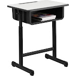 Flash Furniture YU-YCY-046-GG Student Desk with Grey Top & Adjustable Height Black Pedestal Frame