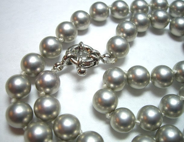 8mm Steel Gray South Sea Shell Pearl Necklace 19 Inch Long - Free Shipping