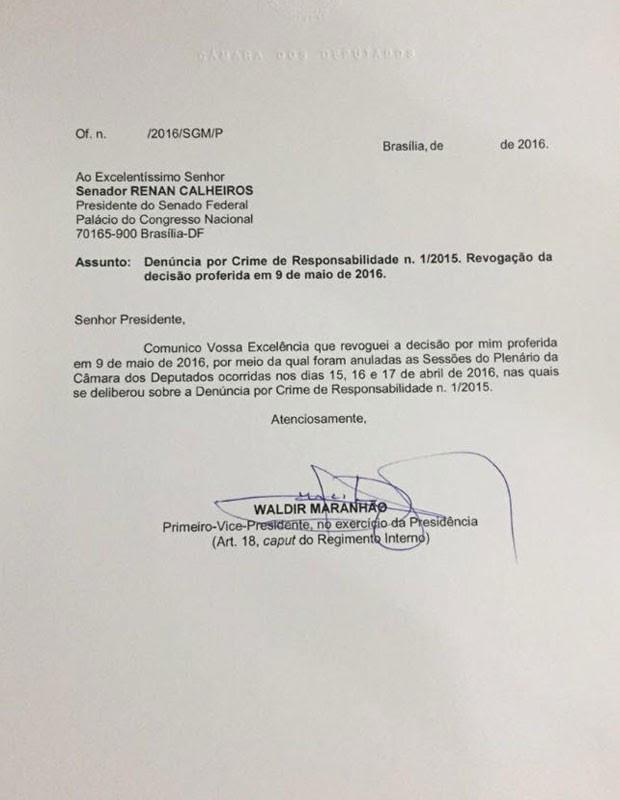 Ofício assinado por Waldir Maranhão endereçado ao presidente do Senado, Renan Calheiros (Foto: Reprodução)