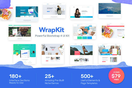 WrapKit, A Powerful Bootstrap 4 Web UI Kit with PSDs - only $18!