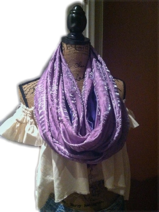 Violet travel pocket scarf 74 lightweight by AndreaDurhamDesigns