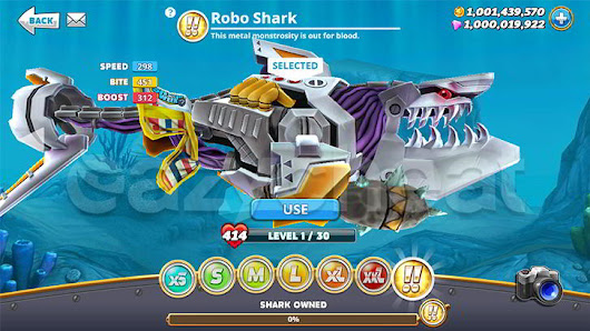 Hungry Shark World Unlimited Coins, Unlimited Gems, All Sharks Unlocked