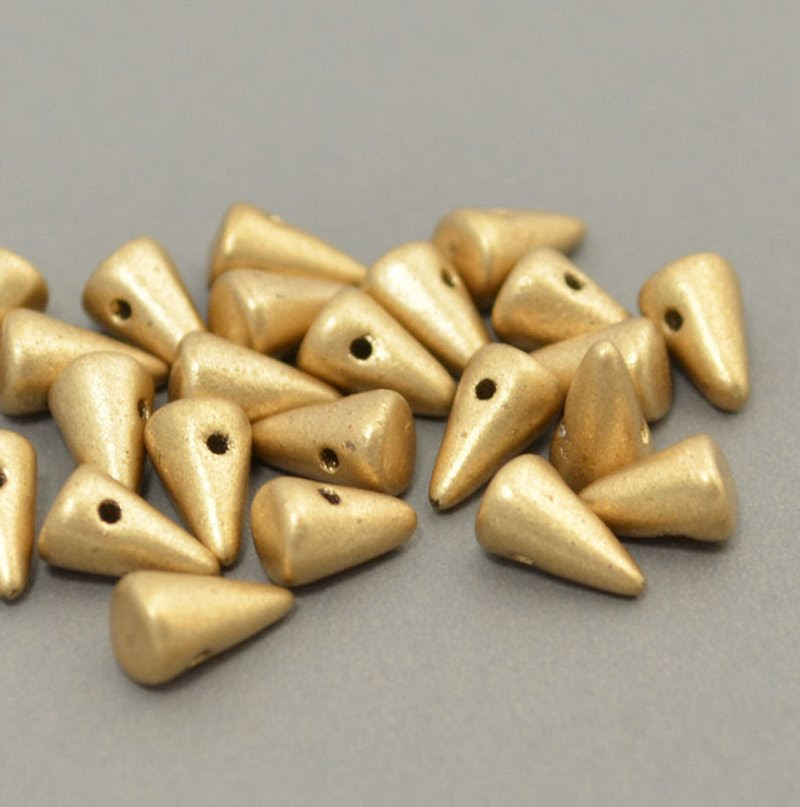 s40950 Glass Beads - 8 mm Baby Spikes - Light Silky Gold (6)