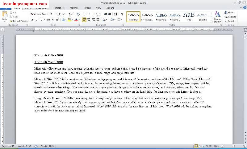 Microsoft word 2010 General Look1