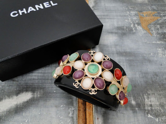 Chanel Gripoix Jeweled Black Resin CC Wide Cuff 08P | Jill's Consignment