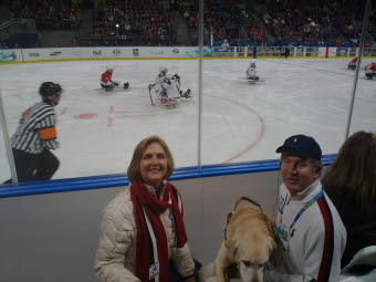 Mike and Jennifer at the sledge hockey game