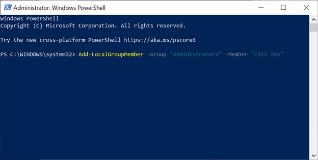 Promocionar una cuenta a Administrador con PowerShell