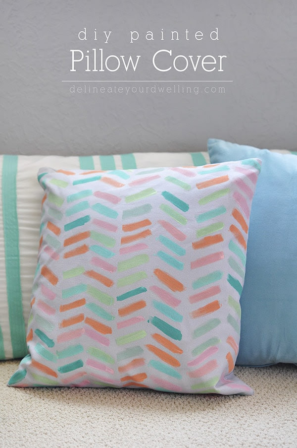 DIY Pastel Painted Pillow Cover, Delineateyourdwelling.com