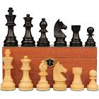 "German Knight Staunton Chess Set Ebonized & Boxwood Pieces with Mahogany Chess Box - 3.25"" King"
